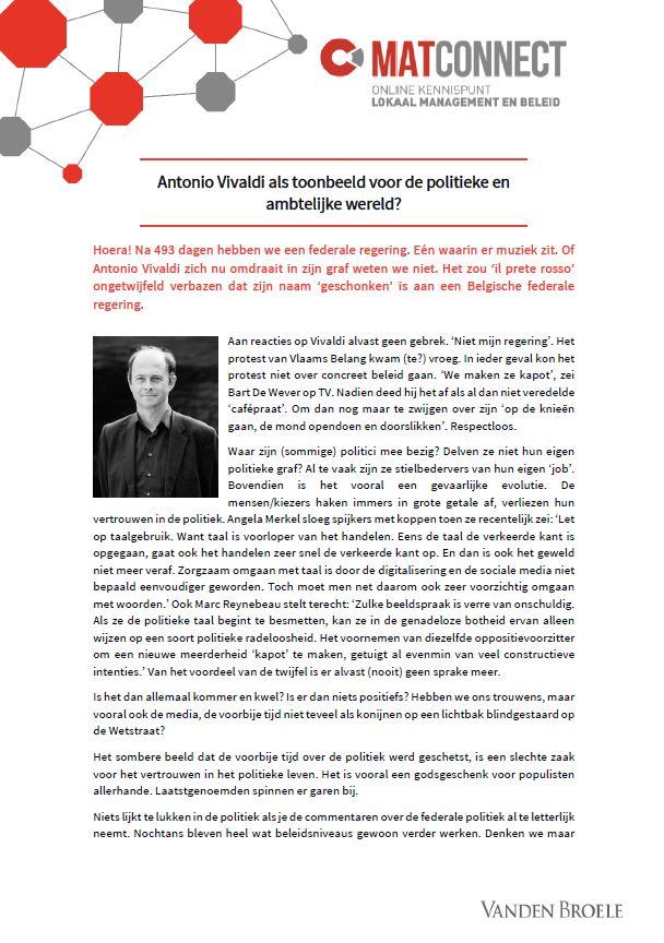 Kritische blik: Antonio Vivaldi als toonbeeld voor de politieke en ambtelijke wereld?